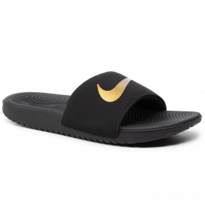 Nike Pantoletten Kawa Slide (Gs/Ps) 819352 003 Black/Metallic Gold